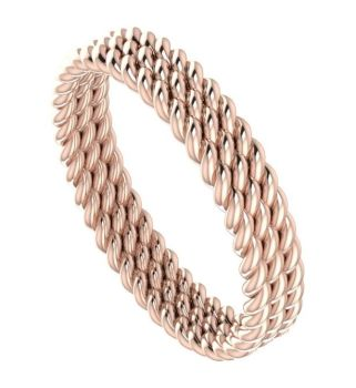 Treble twist rose gold unusual wedding ring