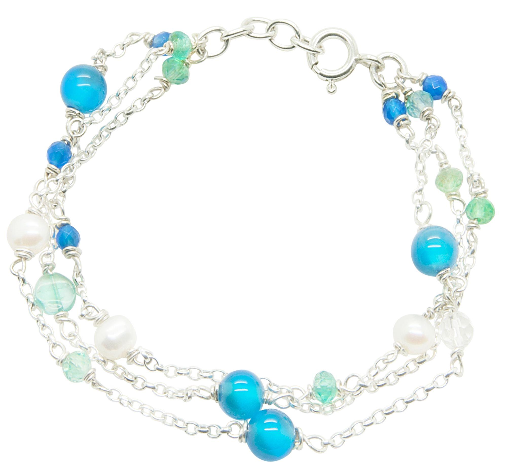 Blue gemstone silver bracelet