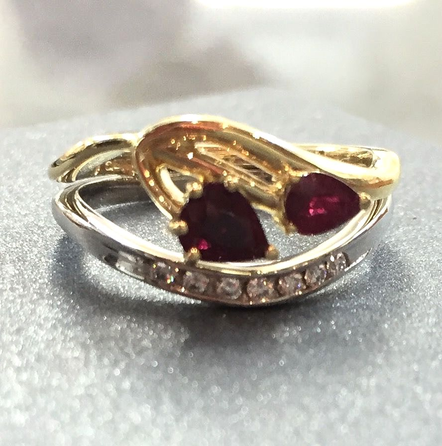 Bespoke ruby and diamond engagement ring