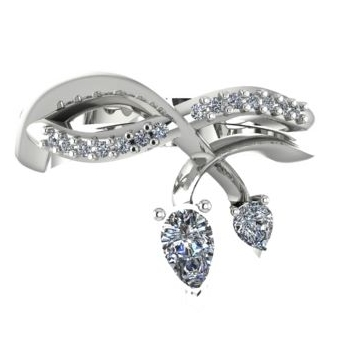 Entwined diamond engagement ring, unusual twisted organic engagement ring