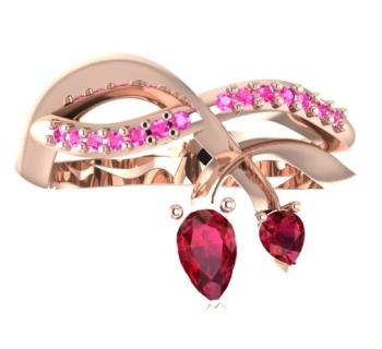 The Entwined engagement ring, Rose gold with rubies and pink sapphires