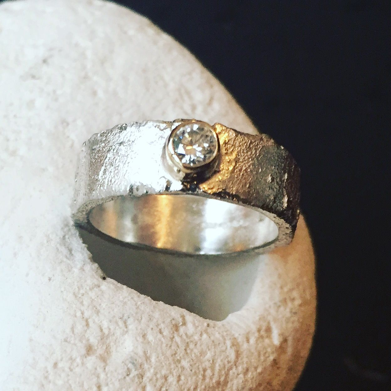 silver and gold bespoke diamond engagement ring
