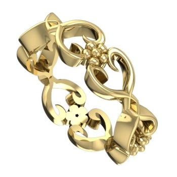 Flowers On The Vine,  Yellow Gold Wedding Ring
