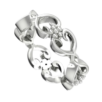 Flowers On The Vine,  White Gold Wedding Ring