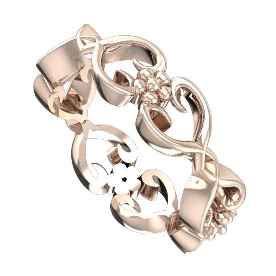 Floral rose gold ring