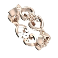 Flowers on the vine, rose gold wedding ring