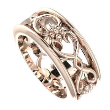 Flowers On The Vine with rail wedding ring, Rose Gold.