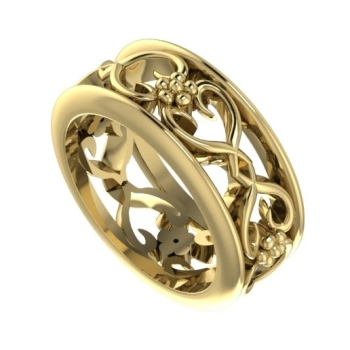 Flowers On The Vine with rail wedding ring, yellow gold