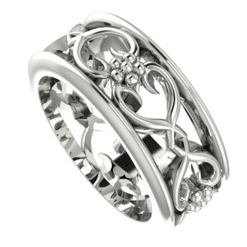 Flowers On The Vine with rail wedding ring, white gold.