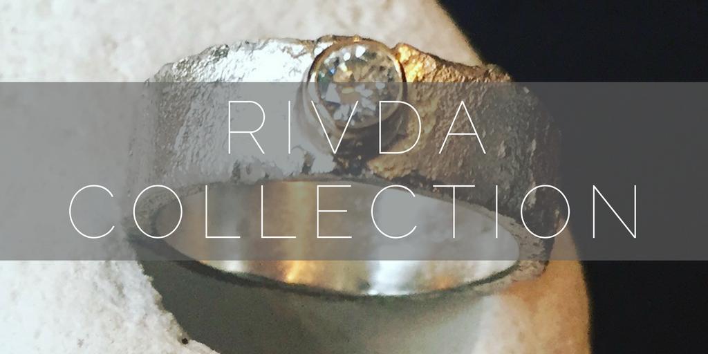 Rivda Collection, organic, textured gemstone rings