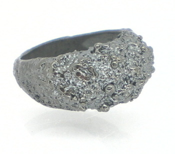 Oxidised Silver Frozen Sand Bombe Ring