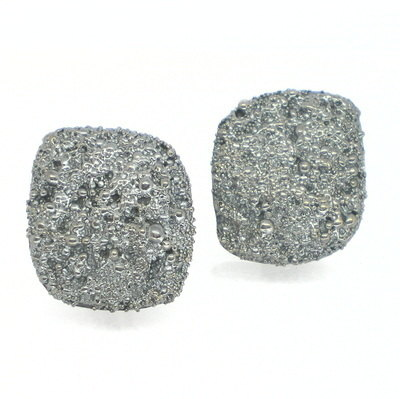 Oxidised Silver Frozen Sand Earrings