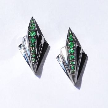 Green and Black, Art Deco Gemstone Earrings