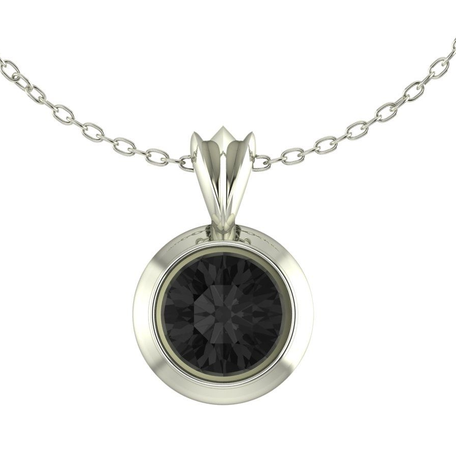 Black Sapphire Silver Pendant