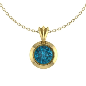London Blue Topaz Victoria Yellow Gold Pendant