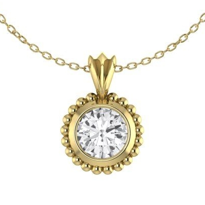 White Sapphire and Yllow Gold Pendant