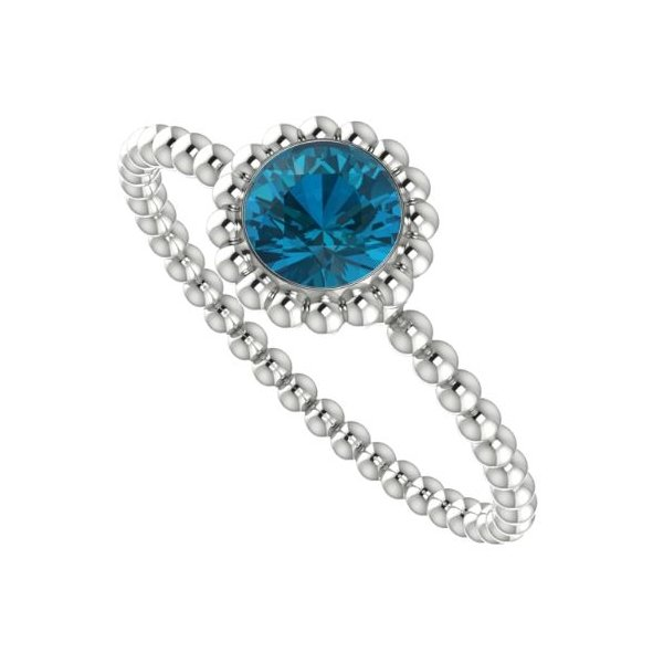 Majestic Engagement Ring, white gold with a London blue topaz.