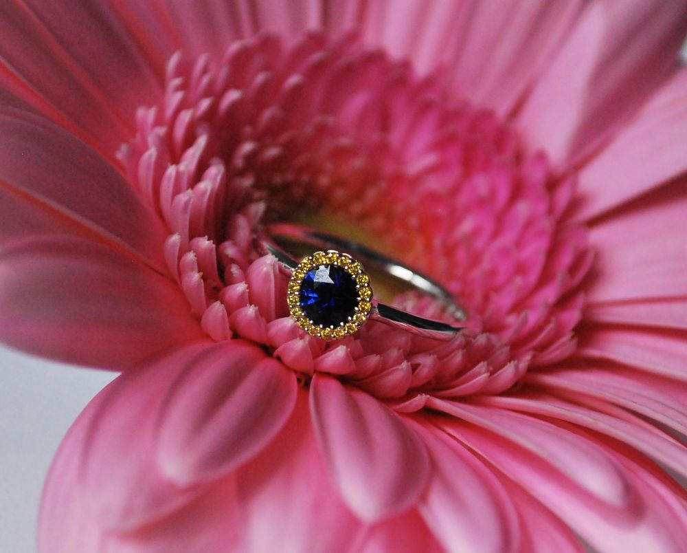 Cannele Bridal Blue Sapphire And Yellow Diamond Designer Engagement Ring by
