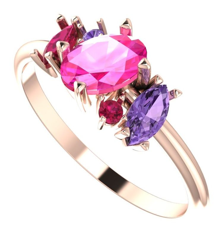 rose gold, pink and purple gemstone ring