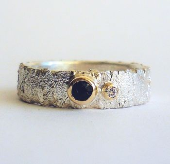 Handmade Silver Ring with Sapphire and Diamond Gemstones