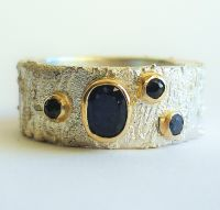 Four Sapphire silver and gold ring