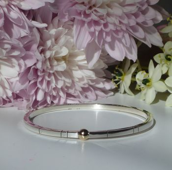 Handmade Silver and 9ct Gold Ball Bangle