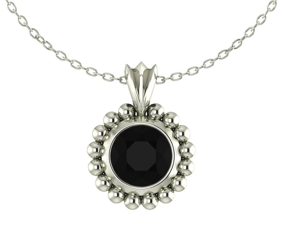 Magestic Black Spinel and Silver Pendant