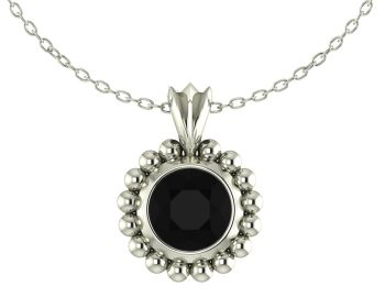 Majestic Black Spinel and Silver Pendant