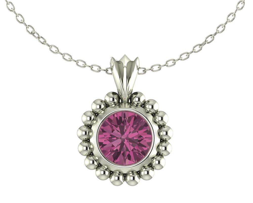Magestic Pink Tourmaline and Silver Pendant