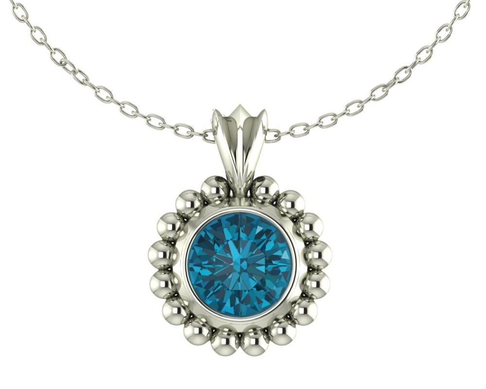 Majestic Pendant - Silver with London Blue Topaz