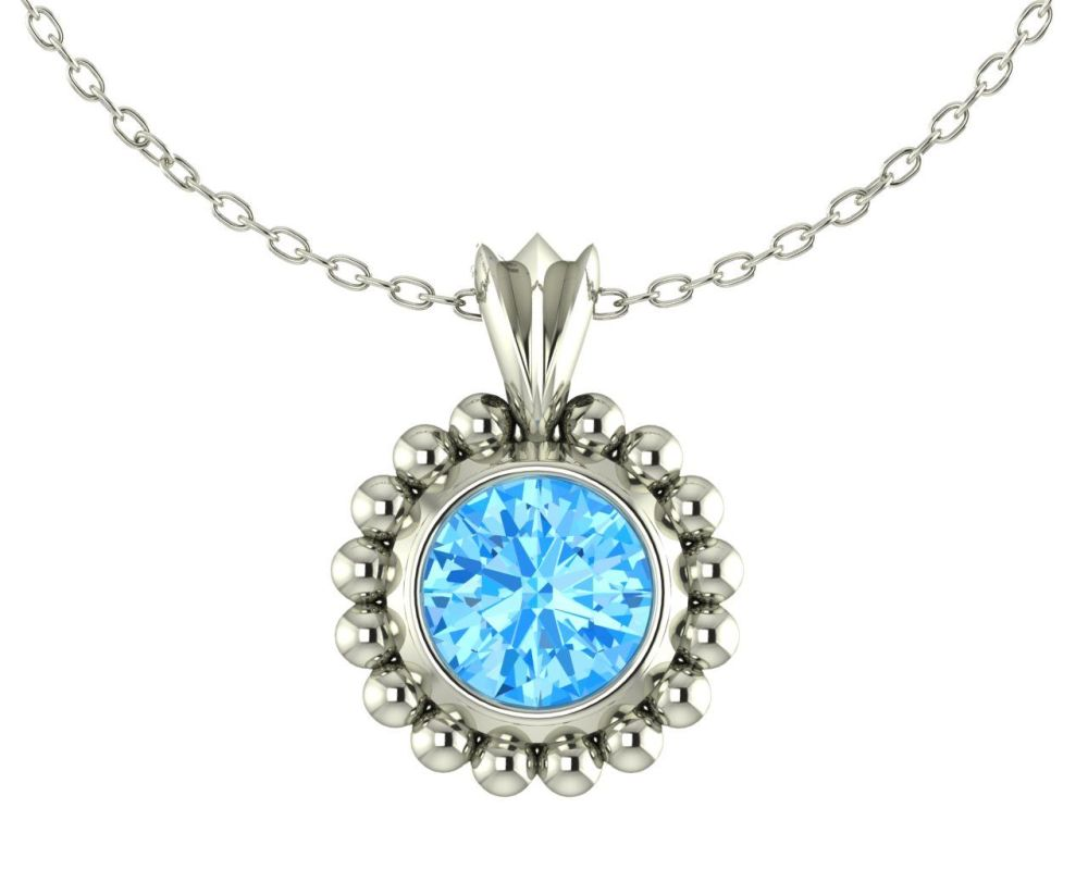 Majestic Sky Blue Topaz and Silver Pendant