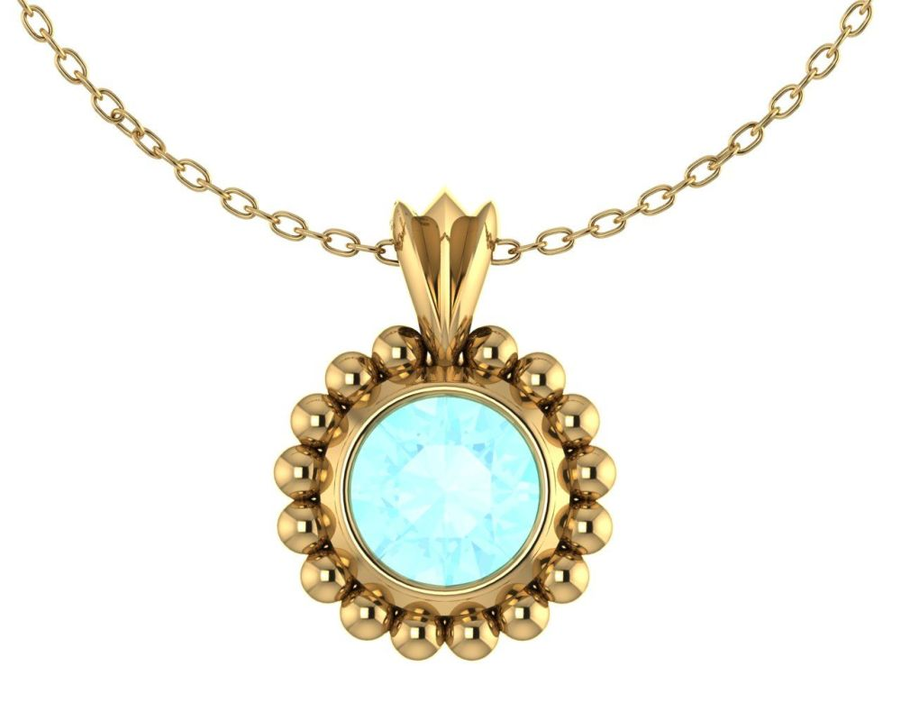 Majestic Aquamarine and Yellow Gold Pendant