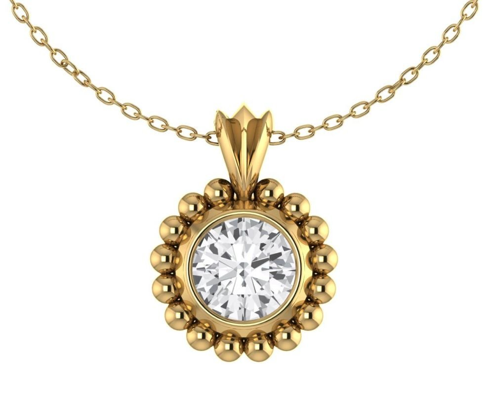 Majestic White Sapphire and 18 Carat Yellow Gold Pendant