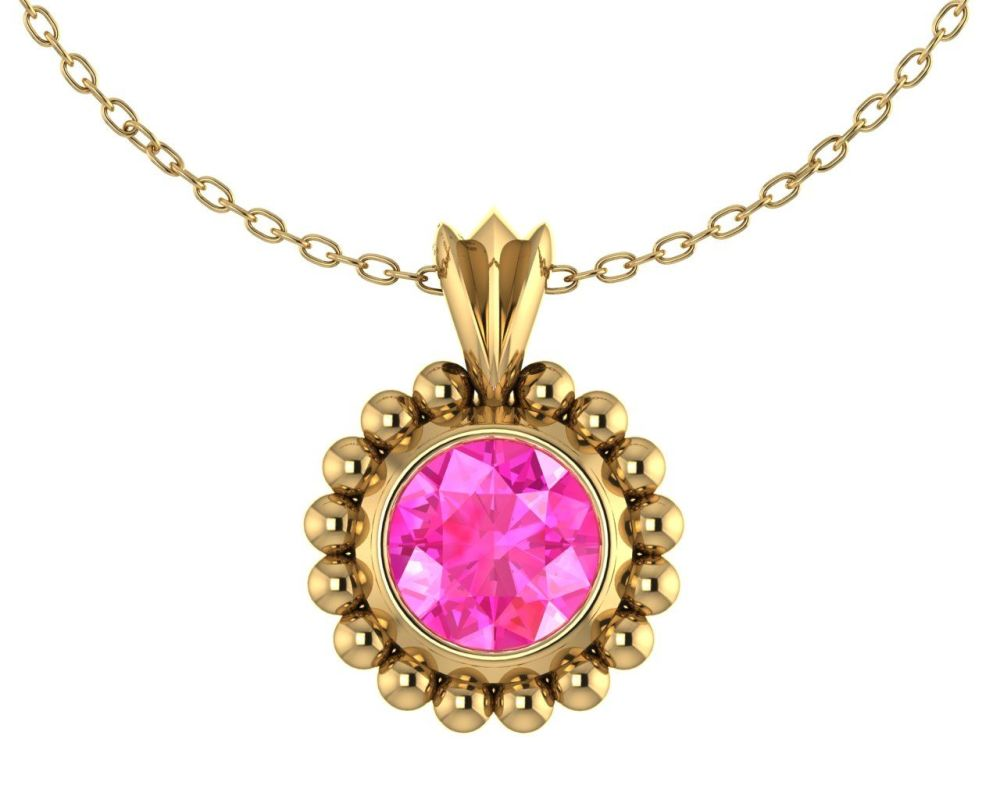 Majestic Pink Sapphire and 18 Carat Yellow Gold Pendant