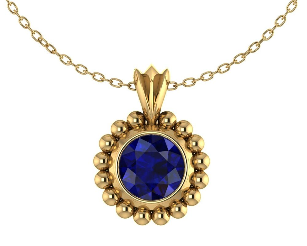 Majestic Pendant - 18 carat Yellow Gold and Blue Sapphire