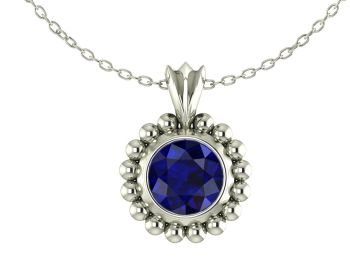 Majestic White Gold and Blue Sapphire Pendant