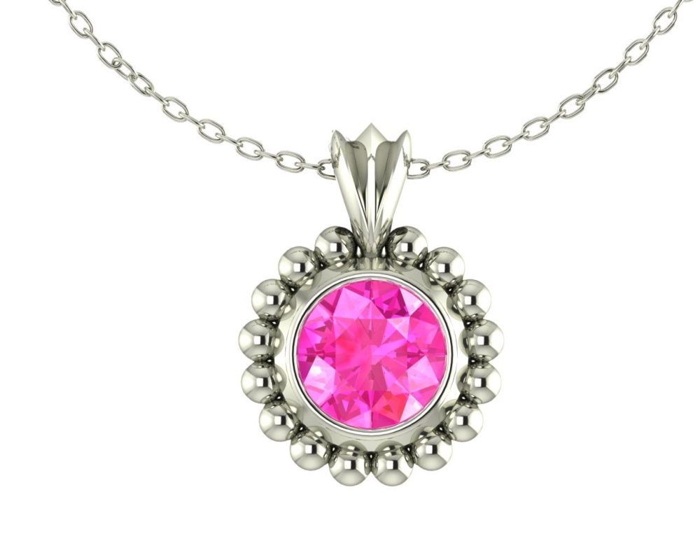 Majestic White Gold and Pink Sapphire Pendant