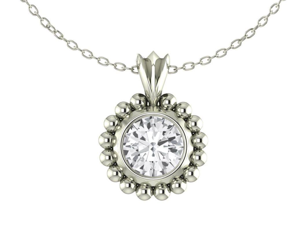 Majestic White Gold and White Sapphire Pendant