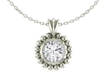 Majestic White Gold and White Sapphire Pendant