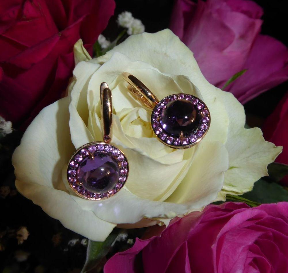 Amethyst Sapphire Earrings