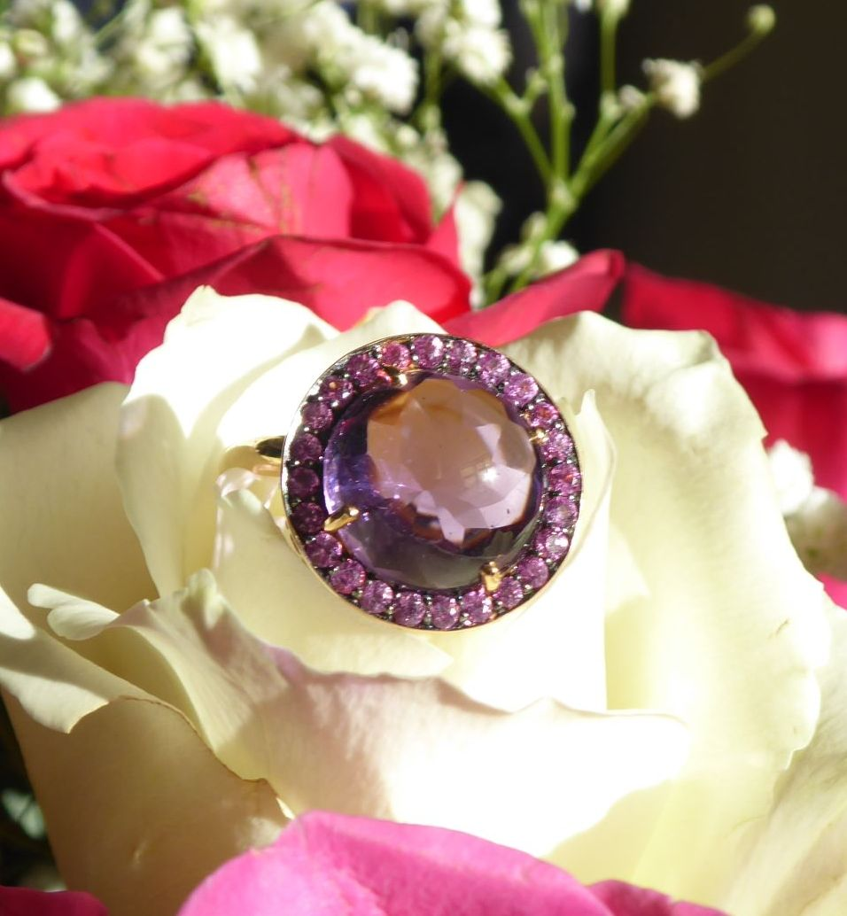 Hot Pink - Bold Amethyst and Sapphire Rose Gold Ring