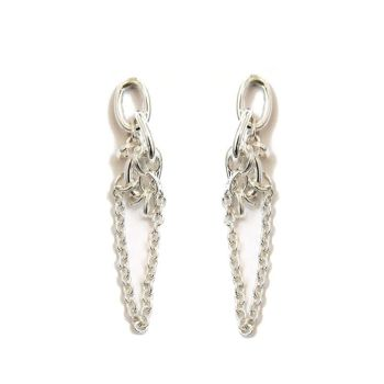 Small Silver Chain Reaction Earrings