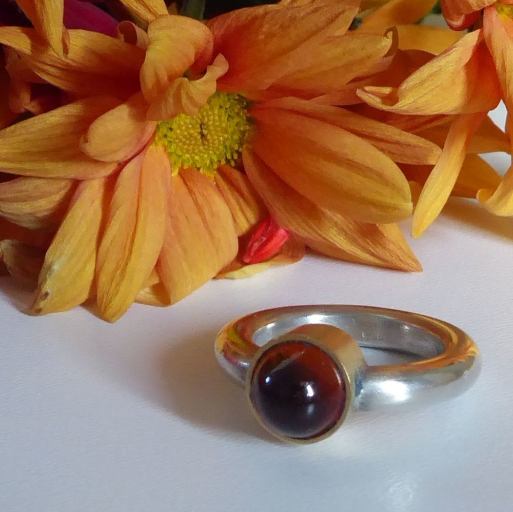 Amber silver and gold ring