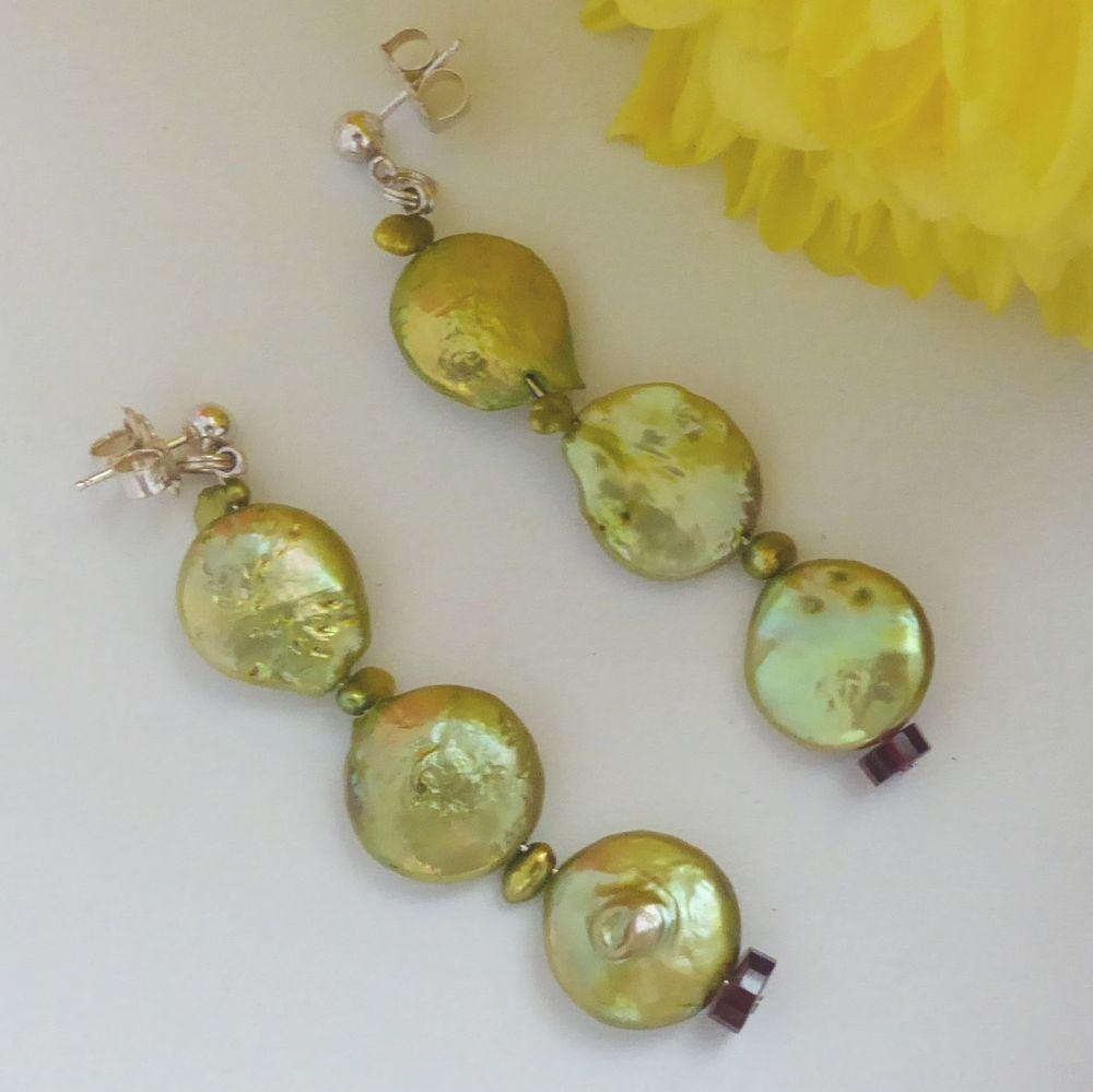 Baroque coin pearl earrings