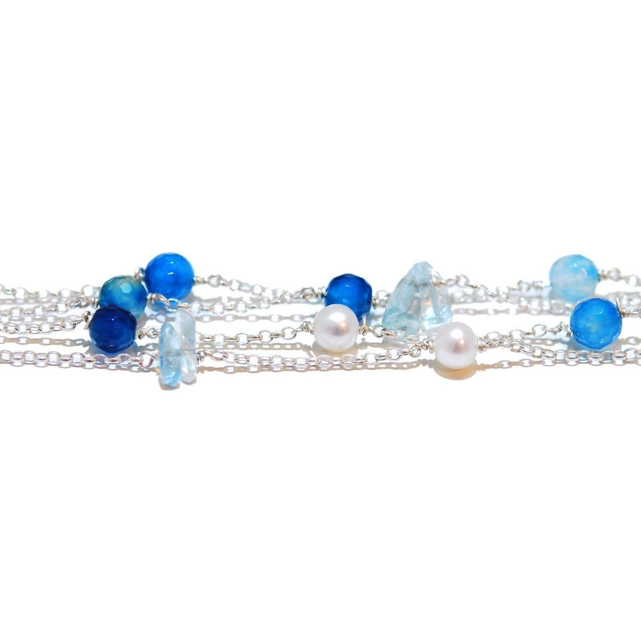aquamarine silver gemstone bracelet