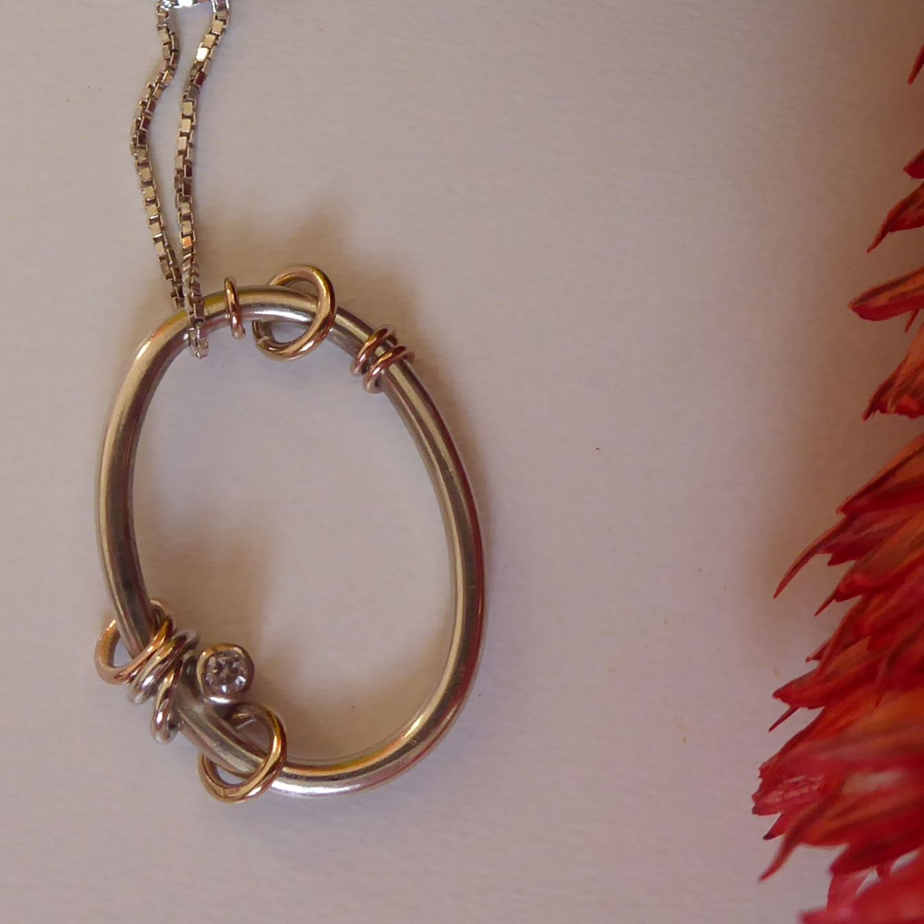 Oval Silver and gold  Pendant