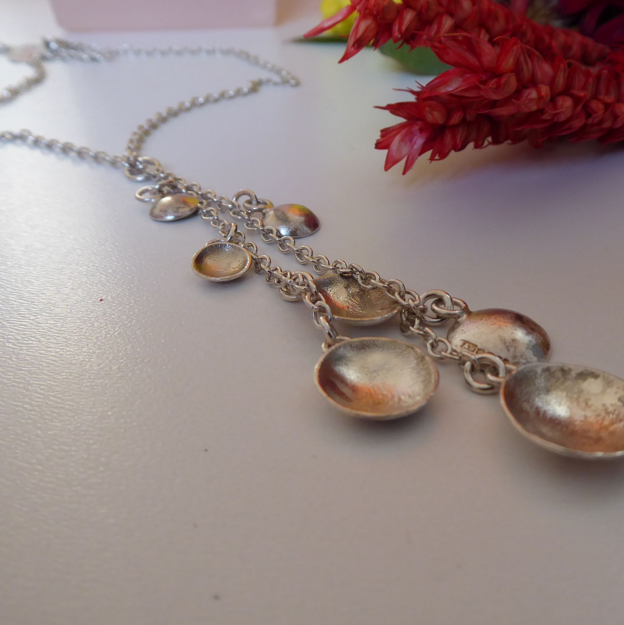 Silver dome handmade necklace