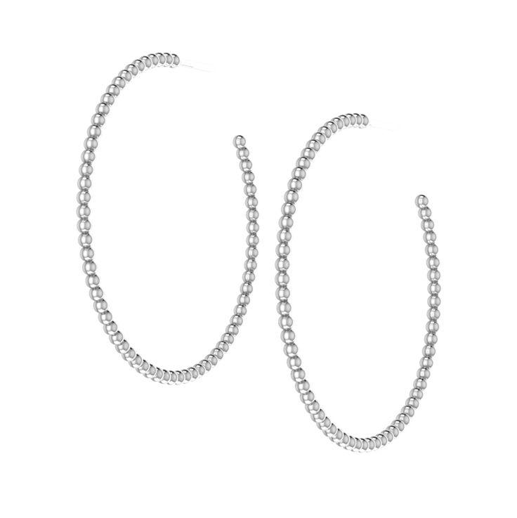 Little Bubbles Silver Hoops - 42 mm