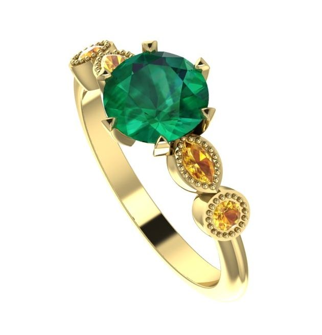 Emerald and yellow sapphire yellow gold gemstone engagement ring