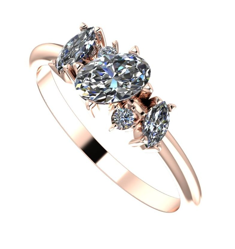 Diamond Atlantis unusual cluster ring